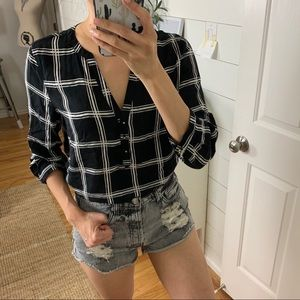 GAP Black + White Grid Blouse